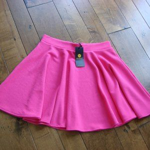 Pink Flirty A Line Stretch Skater Mini Skirt ~ NWT